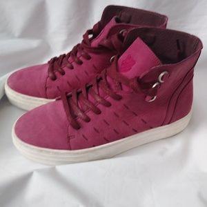 K Swiss Hightop Raspberry Suede Sneakers